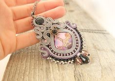Grey purple soutache pendant beaded embroidered pendant by pUkke