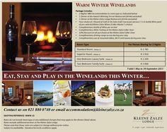 Winter Warmer in the Winelands Winter Warmers, B & B, My Room, Restaurant, Spaces, Drinks, Drinking, Beverages, Diner Restaurant