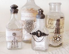 decorate jars with old jewelry