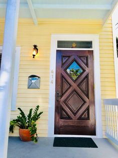 Natural Wood Front Door on Yellow House House Front Door, House Doors, Wood Front Doors, Front Door Decor, Key West House, Indoor Outdoor Living, Outdoor Decor, Key West Style, Nest Building