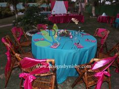 #Tropical wedding #reception decor  Darker blue. Or green. Chair ribbons