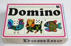 Retro !! Domino spel i fina färger o djurmotiv i orginalkart på