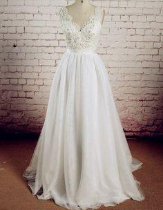Feitos real V-Neck Vestidos de casamento, Vestidos Sexy casamento, o vestido de noiva Charming A-Line, vestidos de noiva, vestidos para casamento On Sale