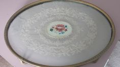 Vintage dressing table tray. Glass with hand embroidered floral lace, vintage shabby chic cottage decor. - pinned by pin4etsy.com
