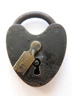 1890 s Antique Heart Padlock D.M. &Co. Davenport Mallory Brass Cover ∞ No Key ∞