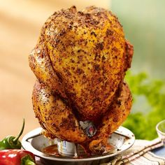 Add a Mexican twist to beer can chicken by seasoning with a spicy chipotle and ground red pepper rub, then grill over a can of authentic Mexican beer. This beer can chicken recipe will be the perfect (Red Beer Recipes) Beer Butt Chicken, Drunken Chicken, Canned Chicken, Moist Chicken, Can Chicken Recipes, Mexican Food Recipes, Ethnic Recipes, Mexican Dishes, Chicken Meals