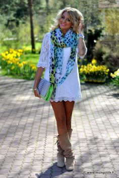lace, boots, scarf, clutch...nice!