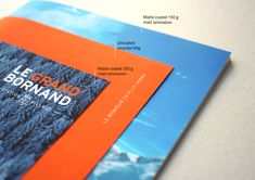Love the stitching on this brochure design. Three separate pieces in one. Design by Graphéine in Paris, France.