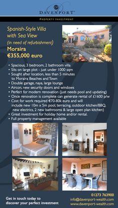 #Moraira, #Spain, #Property #Investment  www.davenport-wealth.com Investment Property, Wealth, Investing, Spain, Sevilla Spain, Spanish