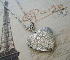 Medium Silver Heart Locket Bridesmaids by BackstreetCreations