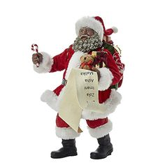 Kurt Adler 105 Fabriche Black Santa with List and Candy Cane *** You can get more details by clicking on the image.