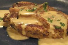 Rich and Creamy Tender Pork Chops (Pressure Cooked) from Food.com:   								SPOON tender pork chops in a rich and creamy mushroom gravy. Quickly done in the pressure cooker! Great for summer when you don't want to heat up the house!