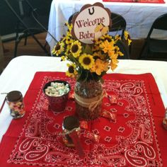 Cowboy Baby Shower Decorations - Many individuals start out looking for cheap baby shower favors simply because they have t Western Party Centerpieces, Baby Shower Centerpieces, Centerpiece Ideas, Table Centerpieces, Cowgirl Baby Showers, Cowboy Baby Shower, Boy Baby Shower Themes, Baby Boy Shower, Cowboy Theme Party