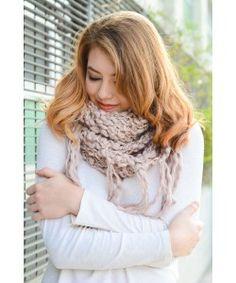 Gold Lurex Infinity Knit Tassel Scarf