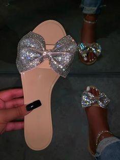 "Rhinestone detail Faux fur True to size ""Barbie Tingz"" True to size Cute Shoes Heels, Fancy Shoes, Me Too Shoes, Shoe Boots, Pretty Sandals, Cute Sandals, Pretty Shoes, Bling Sandals, Shoes Sandals"
