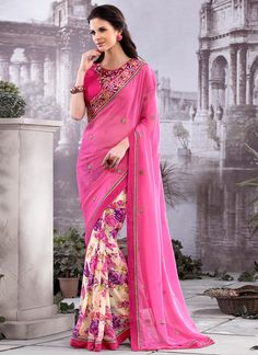 Buy Cream And Pink Half N Half Saree online from the wide collection of Saree.  This Cream,  Pink  colored Saree in Faux Georgette  fabric goes well with any occasion. Shop online Designer Saree from cbazaar at the lowest price.