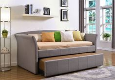 Adult Daybed Apartment Sofa With Trundle Bed Frame For Kid Twin Small Couch Dorm in Home & Garden, Furniture, Beds & Mattresses | eBay
