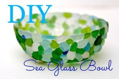 make this sea glass bowl with saran wrap and glue, watch the video from Debi's Design diary