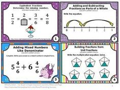 FREE Download Fraction Task Cards & Games for 4th Grade Common Core Math: You will receive eight printable task cards to use as a math review, test prep or quick formative assessment. Task cards are a great alternative to worksheets. Students may play SCOOT, have a scavenger hunt or play other math center games. Try the sampler for free.
