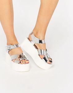 Pull&Bear Silver Platform Sandals $48.51