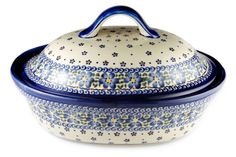 Blue Rose Polish Pottery: Spring Blossom Oval Baker with Lid