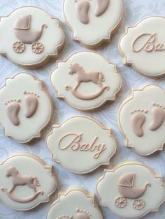 Elegante género Neutral bebé ducha Cookies  una docena