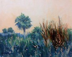 "Daily Paintworks - ""Palms on Pelican Island"" - Original Fine Art for Sale - © Linda Blondheim"