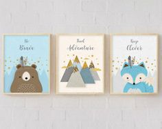 Woodlands Nursery, Set of 3, Print Set, Forest Animal Set, Nursery Art, Forest Friends, Nursery Forest Decor, Fox Bear, mountains, Blue. - Edit Listing - Etsy
