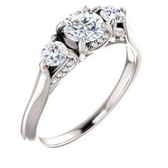 14K White 6.5mm Round Three-Stone Engagement Ring Mounting