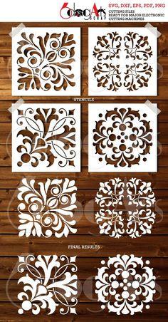 4 Tile Digital Stencil Template Designs SVG DXF cut files image 0 Source by dilsydepaiz Stencil Templates, Stencil Patterns, Stencil Designs, Free Stencils, Deco Cuir, Cricut, 3d Laser, Tile Design, Bar Design