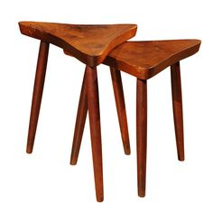 George Nakashima - Pair of nesting Tables   From a unique collection of antique and modern nesting tables and stacking tables at https://www.1stdibs.com/furniture/tables/nesting-tables-stacking-tables/