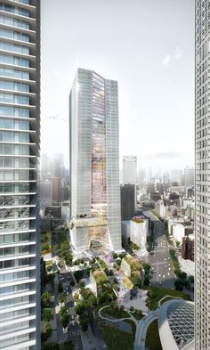 Image 1 of 1 from gallery of OMA Reveals Design for Mixed-Use Tower in Tokyo. Photograph by OMA