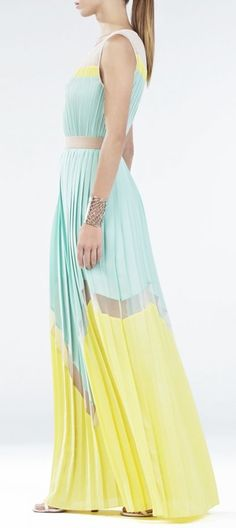Mint and yellow color block dress