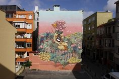 """Qbic paints a beautiful mural in Istanbul, Turkey ~  Russian artist Rustam Qbic taking part in the Mural Istanbul festival. During his recent stay in Istanbul, he painted an impressive piece entitled """"Miracle"""". 6/25/15"""