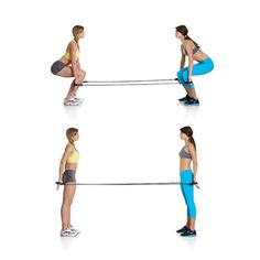 Partner Squat with Resistance Bands-Stand facing each other, holding the handles of two taut resistance bands on either side of your thighs, palms facing behind you. At the same time, push your hips back and bend your knees, lowering until your thighs are nearly parallel to the floor. Push through your heels to return to standing, and pull your shoulder blades together and press your palms back, keeping your core and glutes tight.