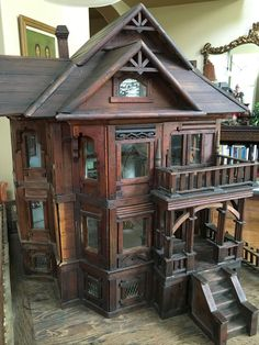 RARE 1880's Victorian Dollhouse Mansion Primitive LARGE Wood 53 Windows 3 Floors