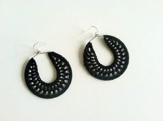 Black Crochet Earrings with Pearl White Seed by Myhandmadepassion, $16.90