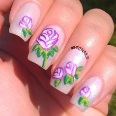 .@ihrtnails | A better look at my floral #mani. Practice does pay off....B-)