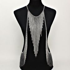 gothic body chains | ... Multi CHAIN V Shaped Fringe Tassel Silve Necklace BODY Armor JEWELRY