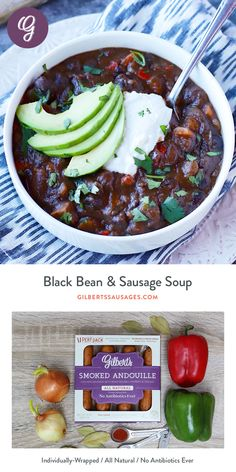 A must-make soup, perfect for Gilbert's Smoked Andouille Chicken Sausage. Sausage And Peppers Crockpot, Bean And Sausage Soup, Chicken Sausage, No Carb Recipes, Gourmet Recipes, Healthy Recipes, Diabetic Recipes, Easy Recipes, Soup Recipes