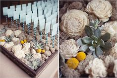 balsa wood flowers and succulents