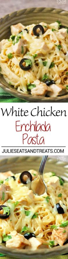 White Chicken Enchilada Pasta Recipe  A delicious pasta filled with all the wonderful flavor of white chicken enchiladas with the help of green chilies, a little sour cream, and melted jack cheese!