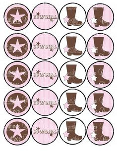 Vintage cowgirl cupcake toppers