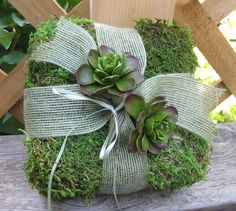 Moss Ring Bearer Pillow with Succulents for Your Wedding. $23.95, via Etsy.