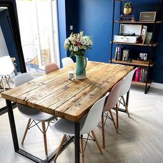 Reclaimed Industrial Chic Seater Solid Wood & Steel Metal Dining Source by Metal Dining Table, Dining Table Design, Dining Table Chairs, Industrial Style Dining Table, Reclaimed Wood Dining Table, Industrial Furniture, Reclaimed Timber, Industrial Chic Kitchen, Wood And Metal Table