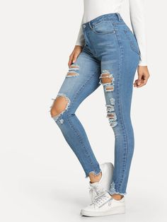 Women Jeans Outfit Jeans Shorts For Women Plus Size Festival Outfits Denim Outfit For Men Size 24 Jeans Dress Jeans Jeans And Heels Outfit – yuccarlily Ripped Knee Jeans, Ripped Jeggings, Shorts Jeans, Cute Jeans, Outfit Jeans, Jeans Dress, Hem Jeans, Jeans Belts, Denim Dresses