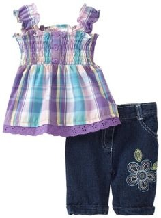 Young Hearts Baby-girls Infant 2 Piece Plaid Bermuda Set (bestseller)