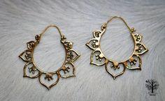Medium Brass Lotus Hoop Earrings, Tribal Earrings, Mandala Earrings, Tribal Jewellery, Brass Hoops, Ethnic Jewelry, Bohemian Earrings