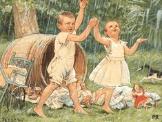 Ot en Sien (Ot and Sien) are two little children who appear in a series of stories which were written in the Dutch language. with a doll Vintage Book Art, Vintage Cards, Old Cards, Beautiful Gif, Gif Animé, Dutch Artists, The Old Days, Dancing In The Rain, Children's Book Illustration