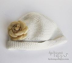 TIGHT Crocheted Stretch Newsboy Cap with Flower Accent - Bohemian